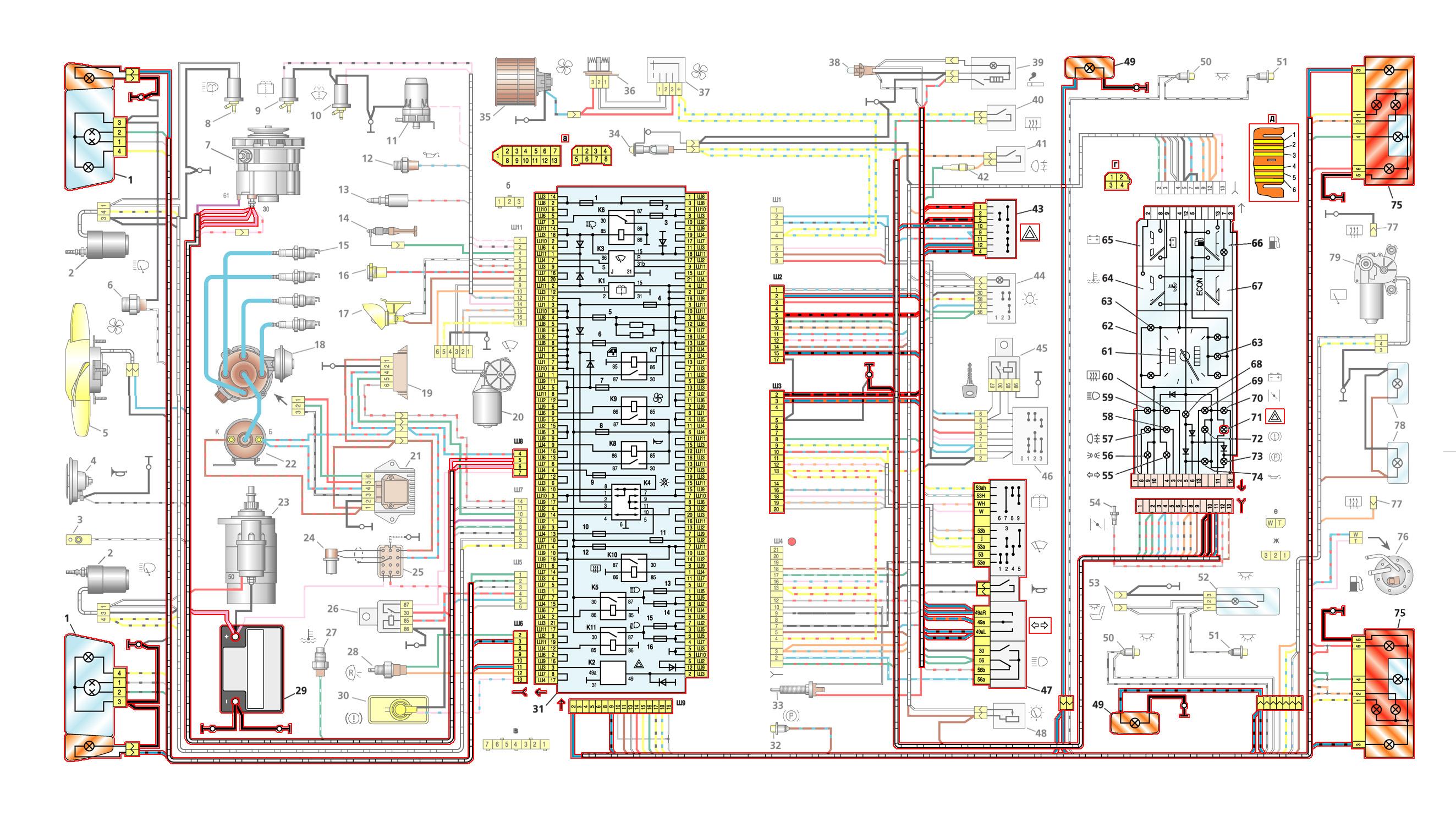 Схема блока предохранители 21083