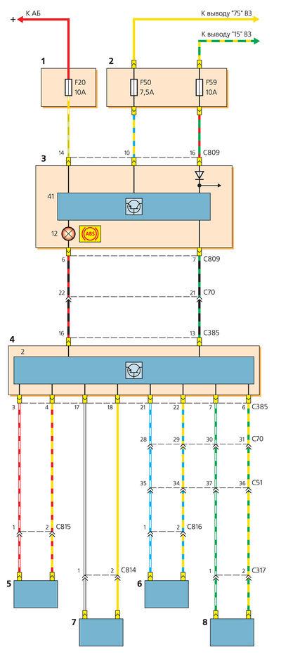 Схема включения датчиков скорости вращения колес и контрольной лампы АБС: 1 - дополнительный монтажный блок (в...