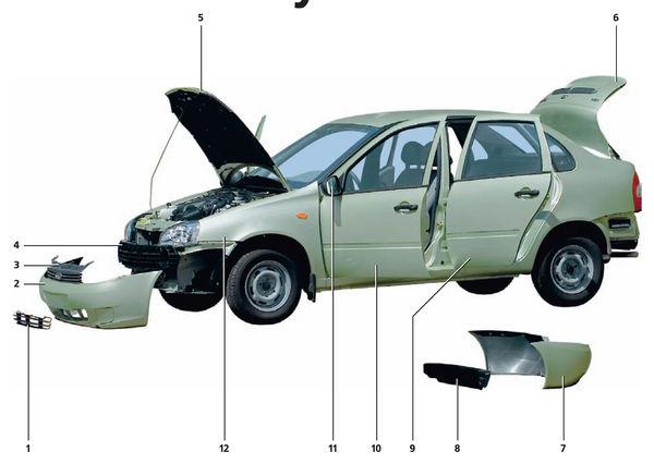Ваз 1118 lada каlina кузов авто документация мануал схема.