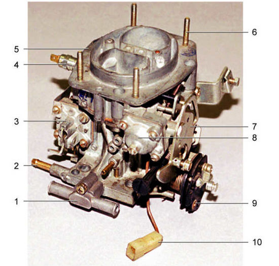 Внешний вид карбюратора: 1 - блок подогрева зоны дроссельной заслонки; 2 - штуцер вентиляции картера двигателя; 3...