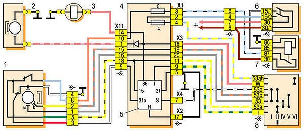 2 – электродвигатель омывателя