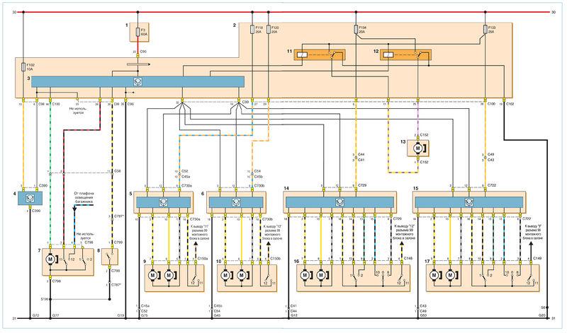 Схема соединений центрального замка с функцией управления стеклоподъемниками и двойной блокировкой: 1...