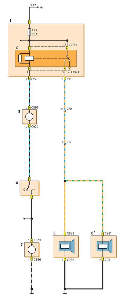 2 - реле звукового сигнала;