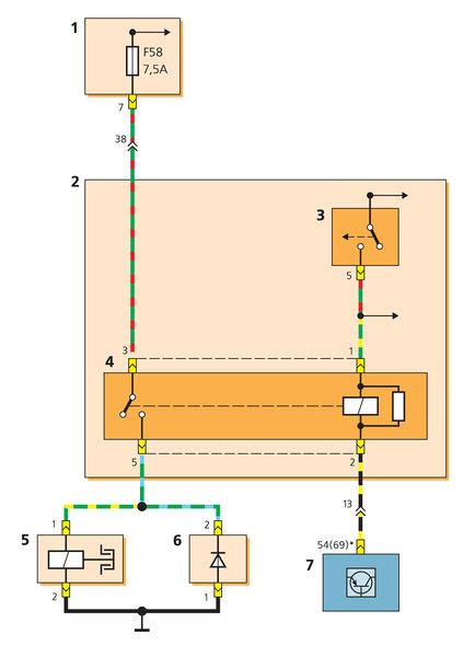 Схема включения муфты компрессора системы кондиционирования