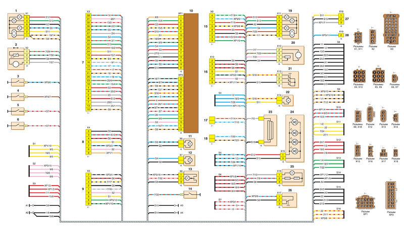 Схема соединений заднего жгута