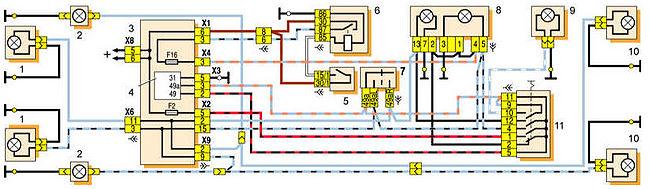 1 – лампа указателя поворота в