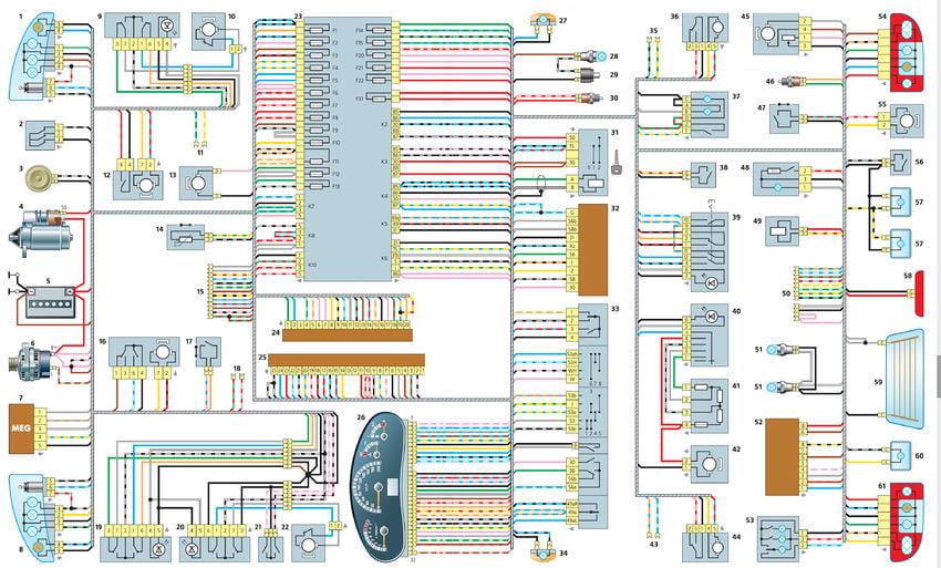 Электрическая схема автомобиля лада калина комплектация норма все схема В статье приведена электрическая схема...