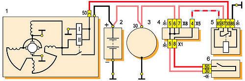 1 - стартер; 2 - аккумуляторная батарея; 3 - генератор; 4 - монтажный блок; 5 - реле включения стартера.