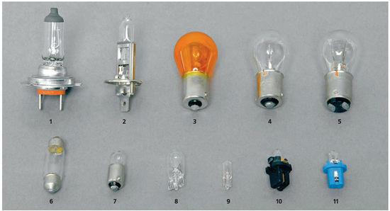 55 55 21 5. лампа ближнего света лампа дальнего света лампа переднего указателя поворота лампа габаритного света.