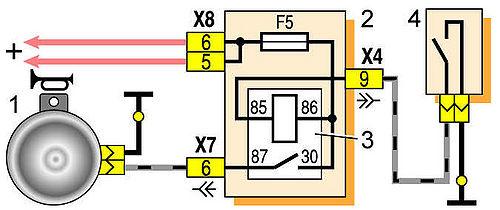 1 - звуковой сигнал; 2 - монтажный блок; 3 - реле включения звукового сигнала; 4 - выключатель рулевого сигнала.