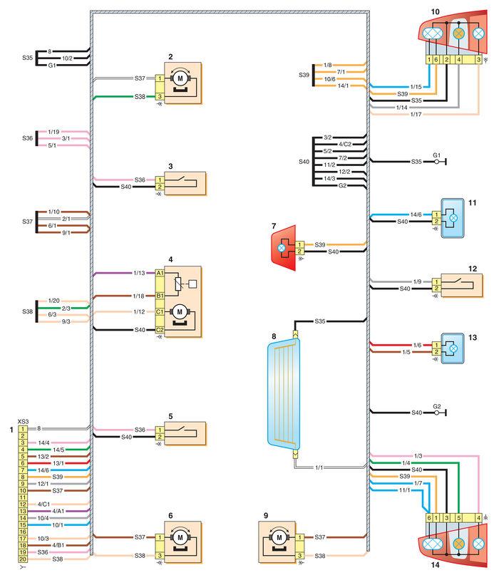 2 – электропривод замка правой