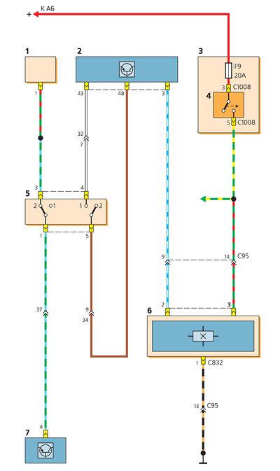 Схема включения датчиков скорости движения и педали сцепления: 1 - выключатель сигнала торможения; 2...