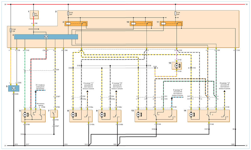 Схема соединений центрального