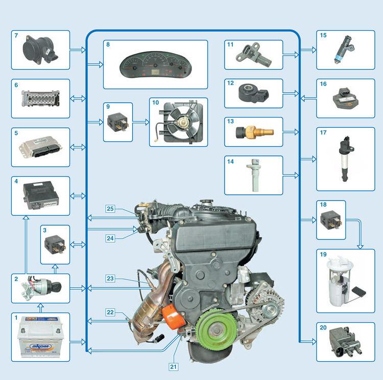 Схема электронной системы управления двигателем: 1 - аккумуляторная батарея; 2 - замок зажигания; 3 - главное реле; 4...